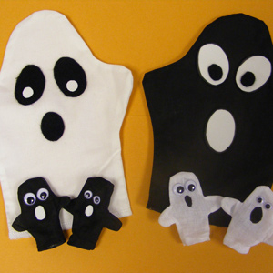 Halloween Gang of Ghosts Puppets