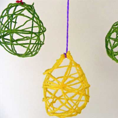 Hanging Yarn Easter Eggs