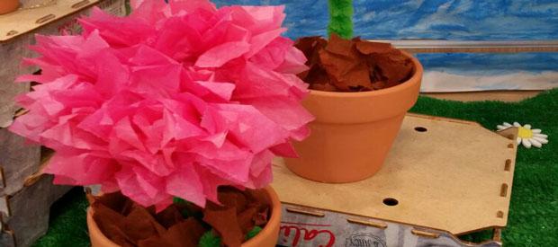 TISSUE FLOWERS IN POTS