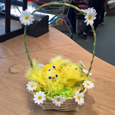 EASTER BASKET WITH FLUFFY CHICKS