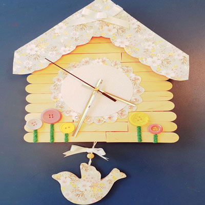 DITSY BIRD HOUSE CLOCK