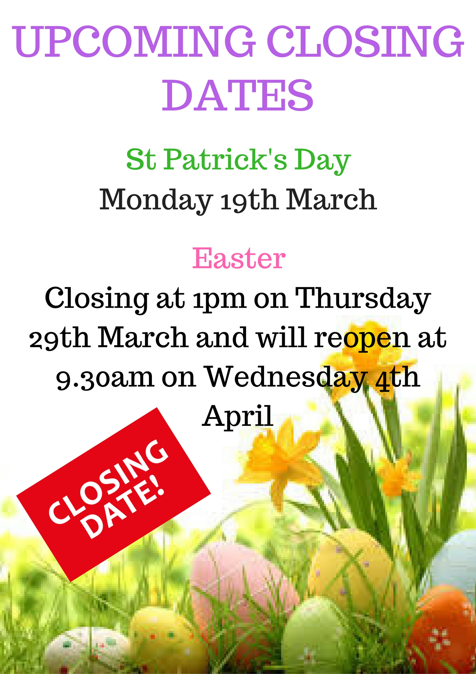 upcoming closing dates 2018