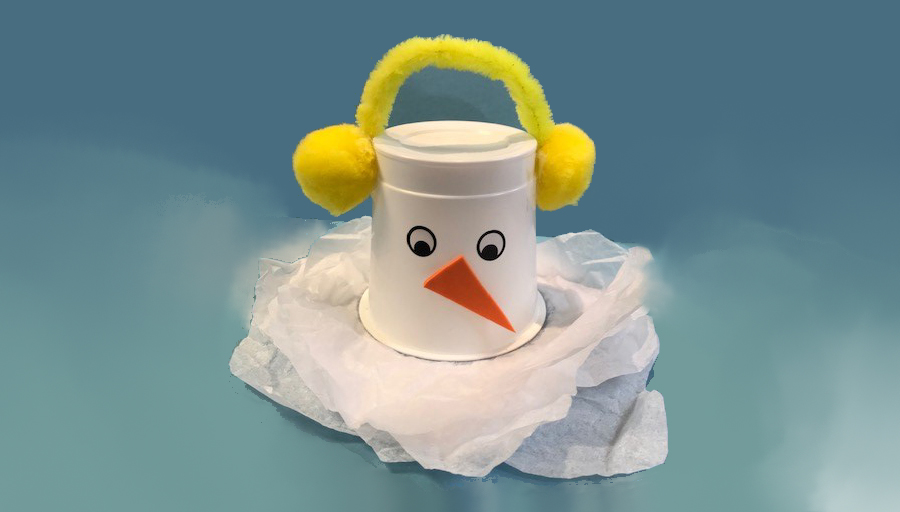 Snow Man from a Plastic Cup