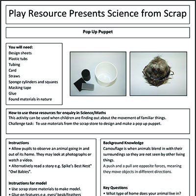 Pop Up Puppet – Play Resource Presents Science from Scrap