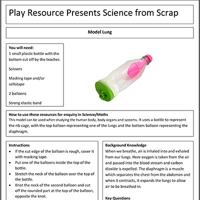 Model Lung – Play Resource Presenting Science from Scrap