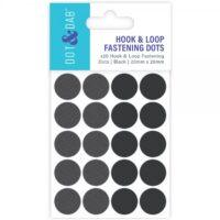 D&D Hook & Loop Fastening Dots Black 20mm Diameter X 20